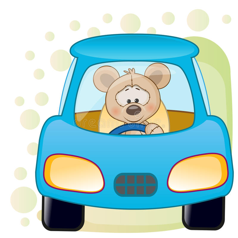 Mouse in a car. Cute Mouse is sitting in a car stock illustration