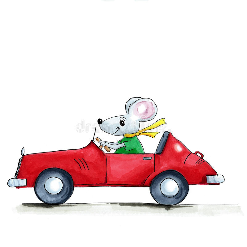 Mouse in car. Illustration mouse in red open car isolated over white background royalty free illustration
