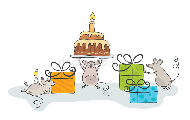 Download Mouse celebrate stock vector. Image of family, gift, illustration - 14348417