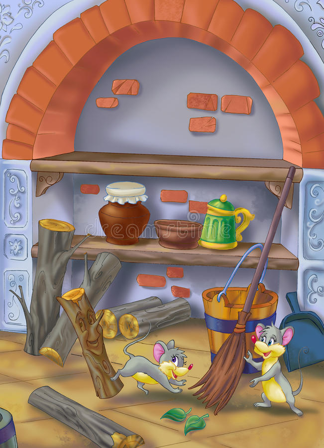 Mouse in the cellar. Drawing of interior of the fairytale house stock illustration