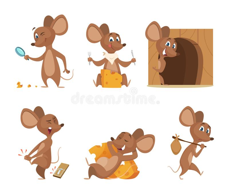 Mouse character. Funny cartoon mice. Vector clipart isolated on white. Illustration of mouse mascot, animal and mousetrap royalty free illustration