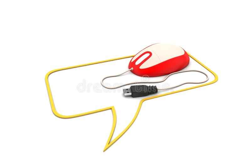 Mouse with chat bubble. In white background royalty free illustration