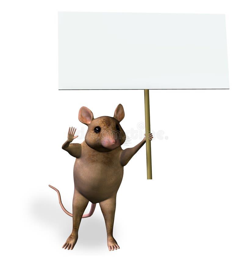 Mouse che tiene un segno in bianco