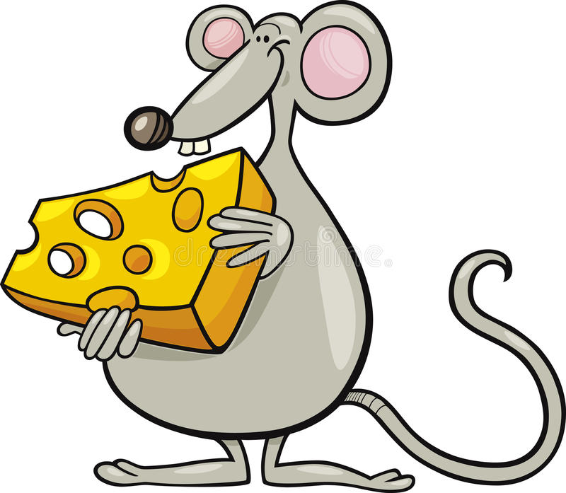 Mouse with cheese vector illustration