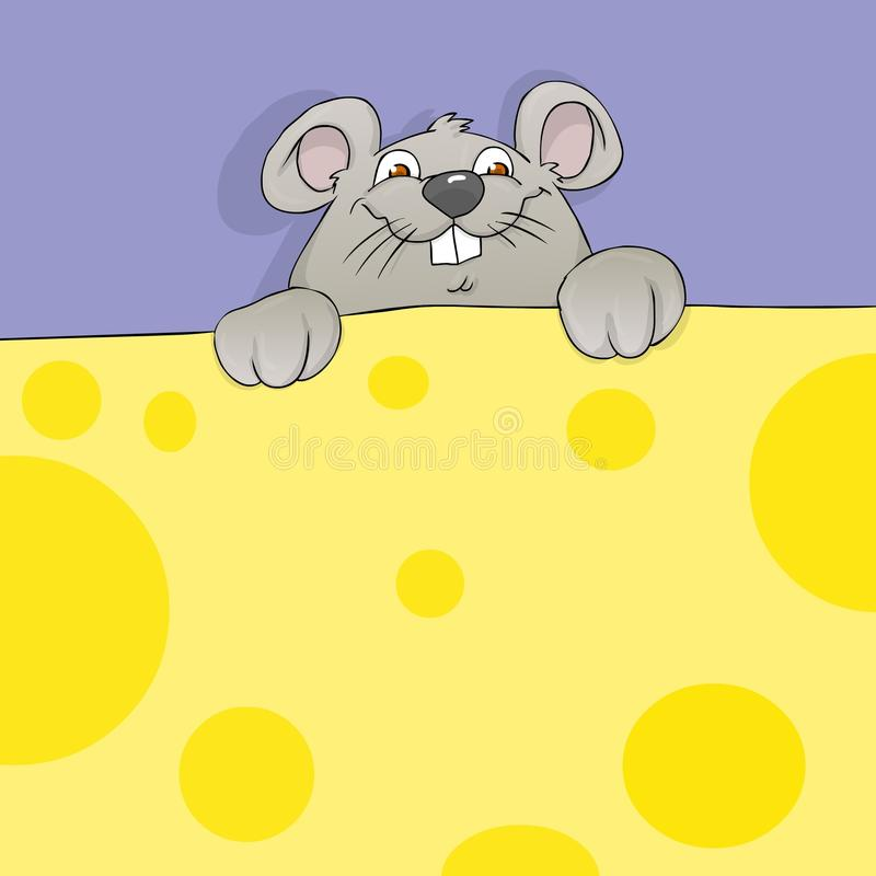 Mouse and cheese banner. Cartoon mouse holding cheese banner stock illustration