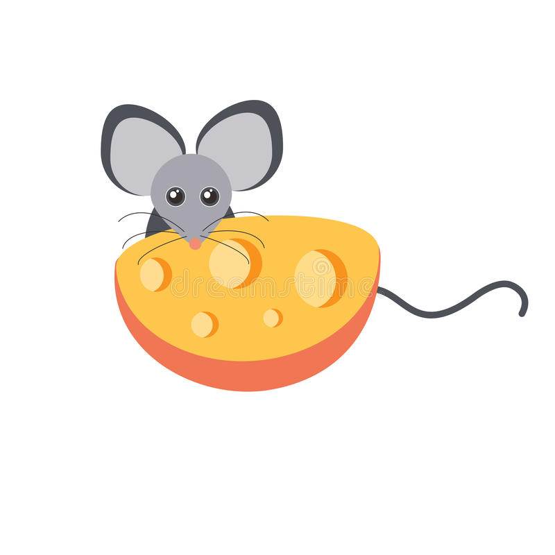 Mouse and cheese cartoon vector vector illustration
