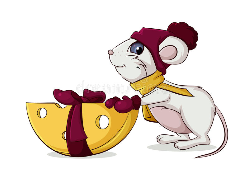 Mouse with cheese gift royalty free illustration
