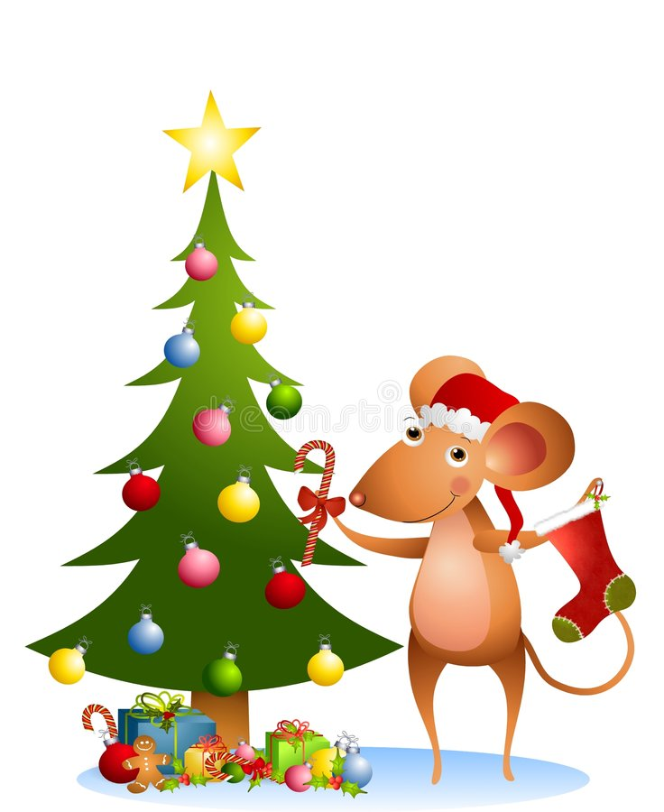 Mouse Christmas Tree 2. A clip art illustration featuring a cartoon mouse wearing Santa hat & holding candy cane and ornaments in front of Christmas tree with vector illustration