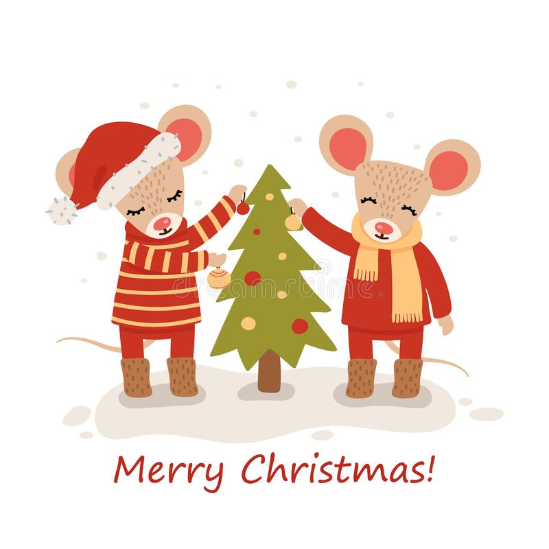 Mouse with christmas trees. Christmas and New Year character isolated on a white background. Postcard. Vector royalty free illustration