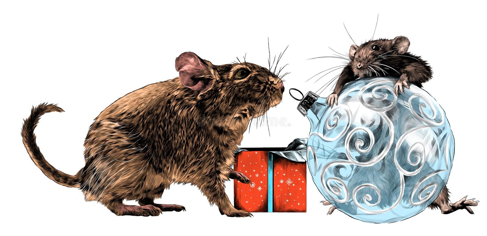 A mouse climbed on a round Christmas tree Christmas toy and a second mouse sits next to it and looks at it next to a gift box royalty free illustration