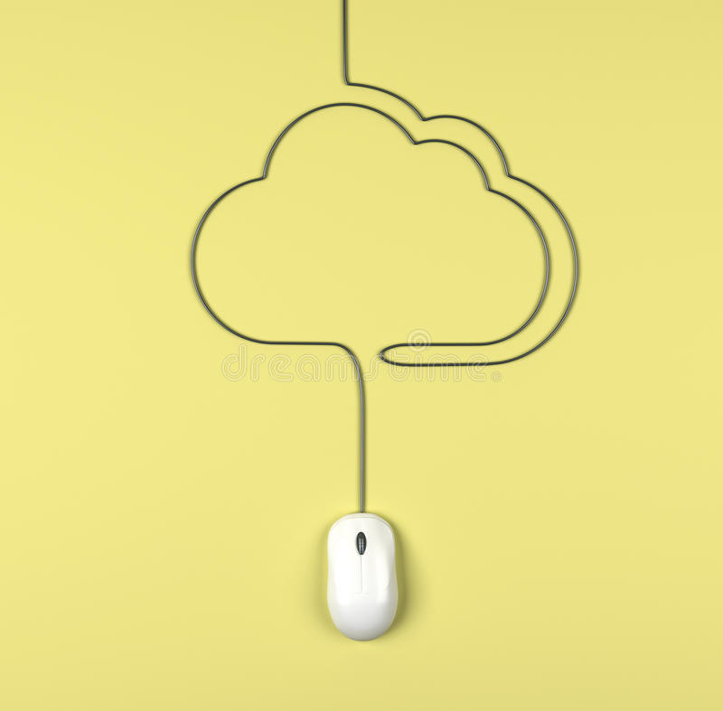 Mouse And Clouds  Cables Royalty Free Stock Images