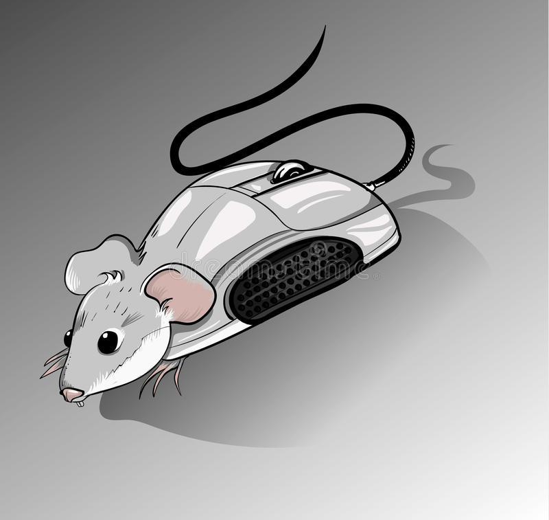 Mouse. Computer mouse in cartoon format on a gray background royalty free illustration