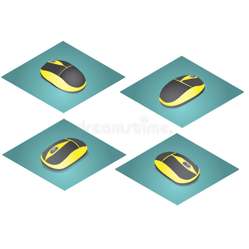 Mouse for the computer in the yellow and black colors. stock image