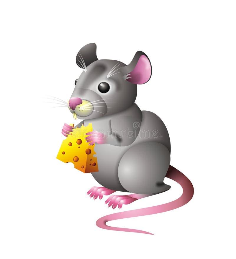 Mouse con formaggio illustrazione di stock