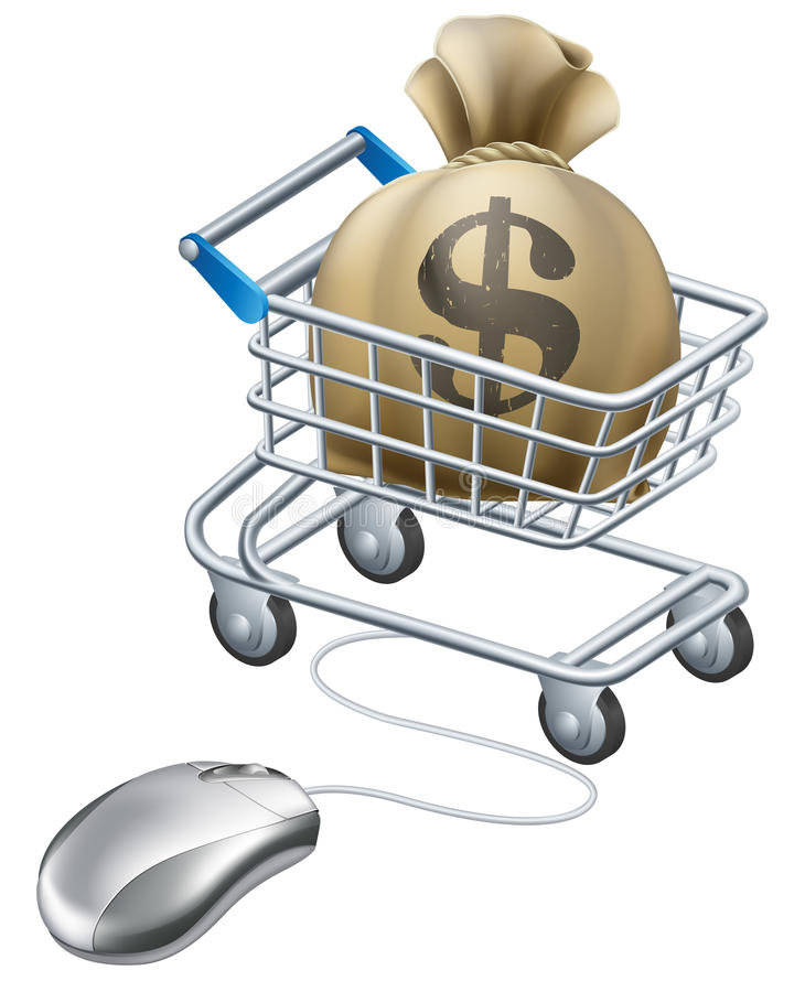 Mouse connected to trolley full of money royalty free illustration