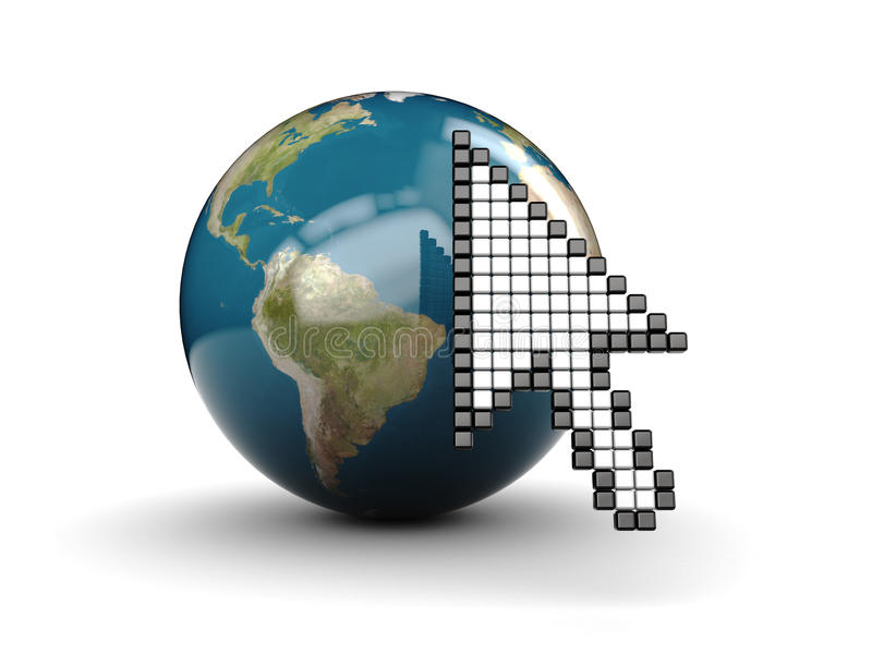 Download Mouse cursor and earth stock illustration. Illustration of internet - 10465587