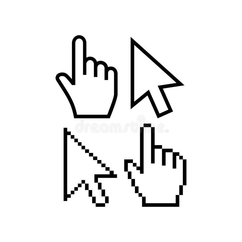 Mouse cursor vector icons. Hand cursor pointer icon, pixel and regular. Arrow poiner cursor icon royalty free illustration