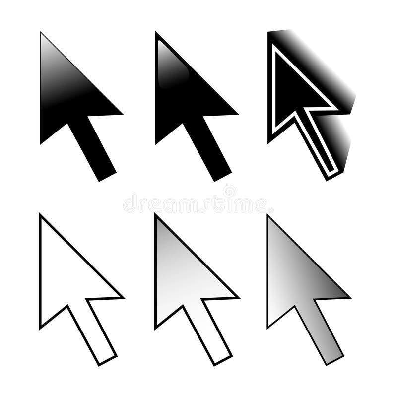 Mouse cursors. Set of 6 mouse arrow cursor variations stock illustration