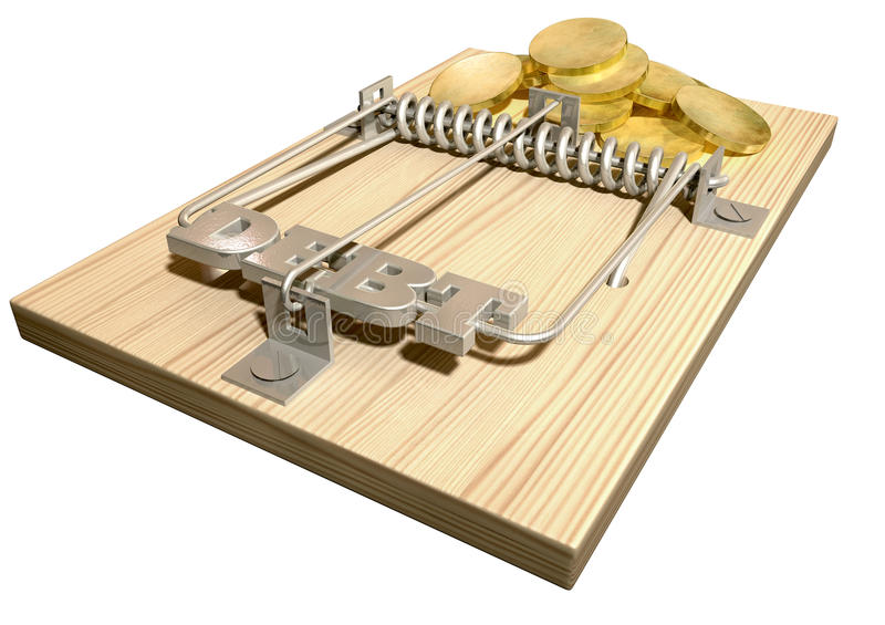 Mouse Debt Trap Perspective Coins. A regular wood and metal mouse trap with coins as bait and springbar with the word debt on it on an isolated background stock photography