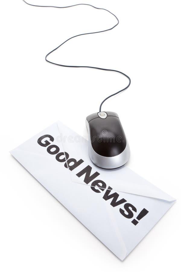 Mouse del calcolatore e di buone notizie fotografie stock