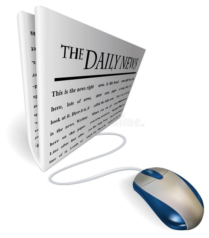 Mouse e concetto di carta di notizie illustrazione di stock