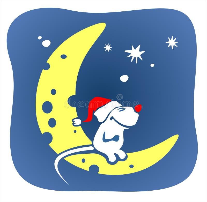 Mouse e luna di natale illustrazione di stock