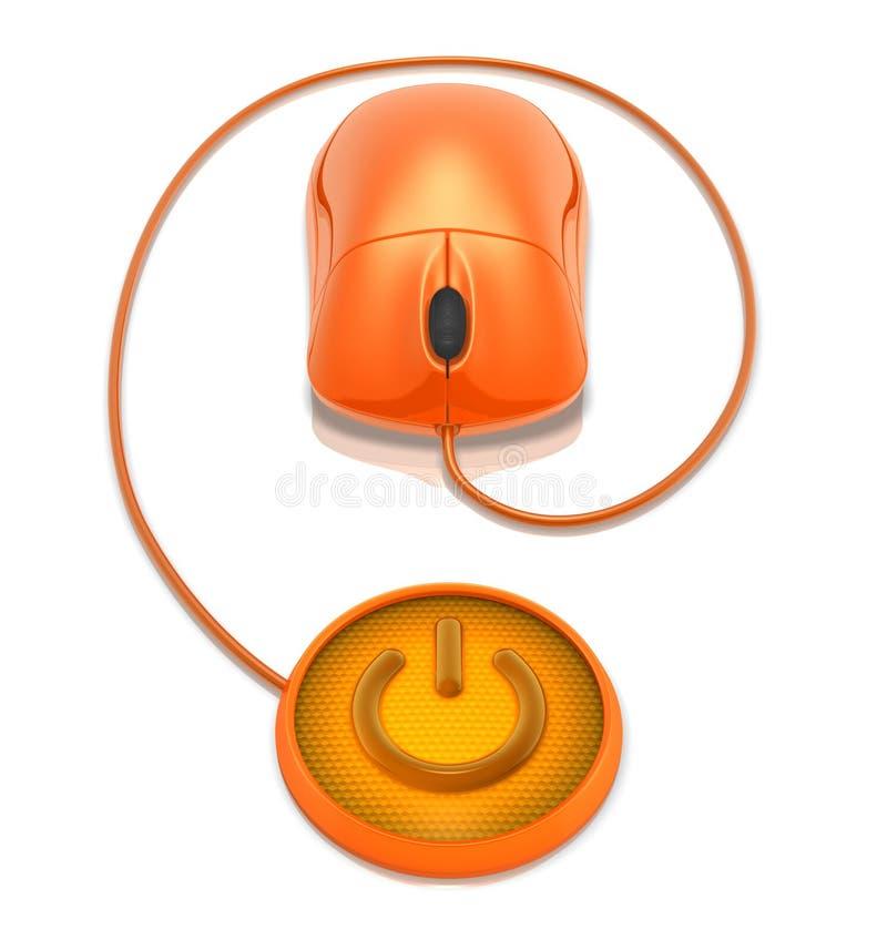 Mouse e tasto di potenza illustrazione di stock