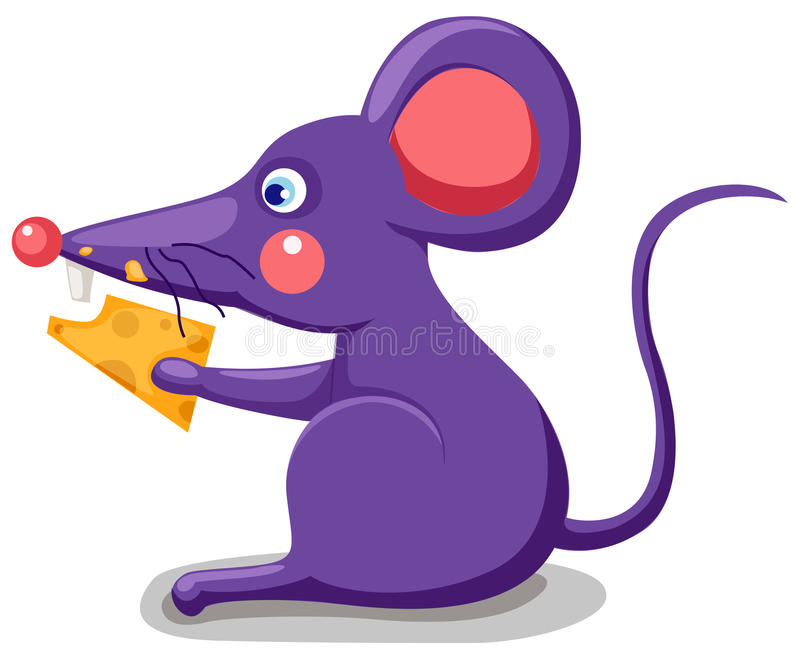 Mouse eating cheese. Illustration of a cartoon mouse eating a piece of cheese stock illustration