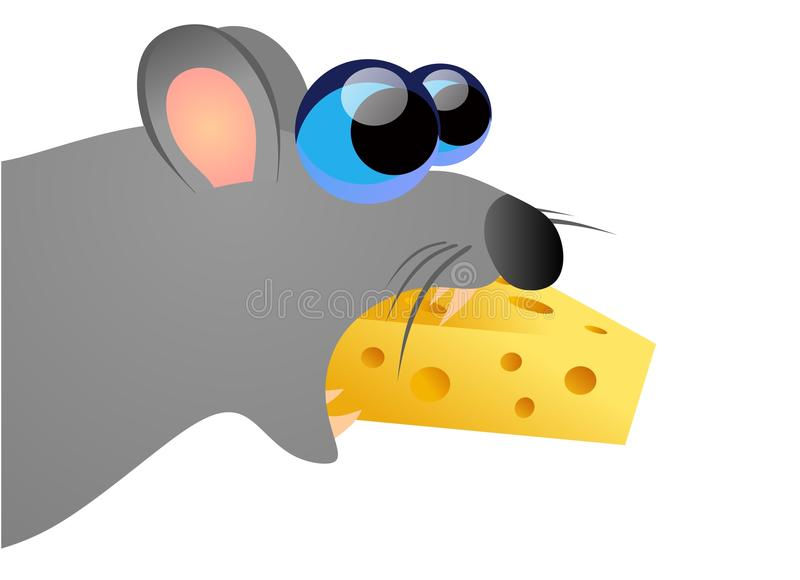 mouse eating cheese royalty free illustration