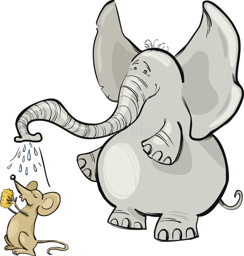 Mouse ed elefante illustrazione vettoriale