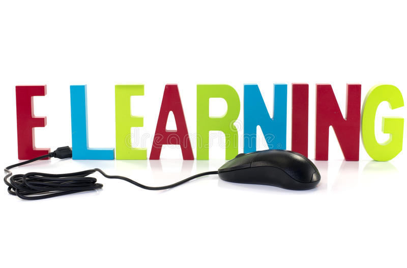 Mouse with elearning. E learning with black mouse on white royalty free stock image