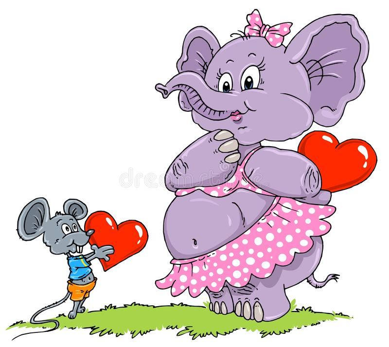 Mouse & Elephant Love - Cartoon Illustration Stock Images