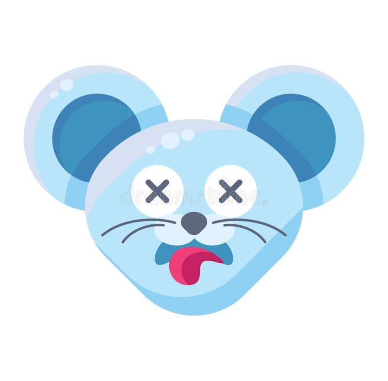 Mouse face dead emoticon sticker stock illustration