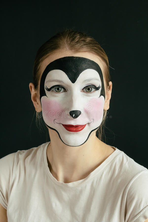 Mouse face painting stock images