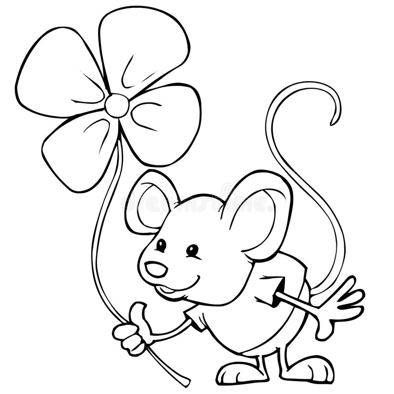 Mouse and flower stock illustration