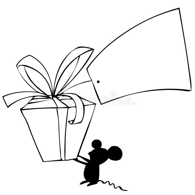 Mouse and gift royalty free illustration