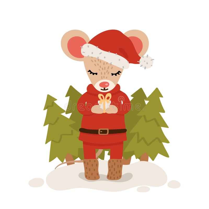 Mouse with gift box among christmas trees. Christmas and New Year character isolated on a white background. Postcard. Vector royalty free illustration