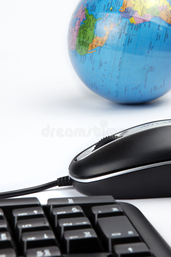 Mouse and globe royalty free stock photos