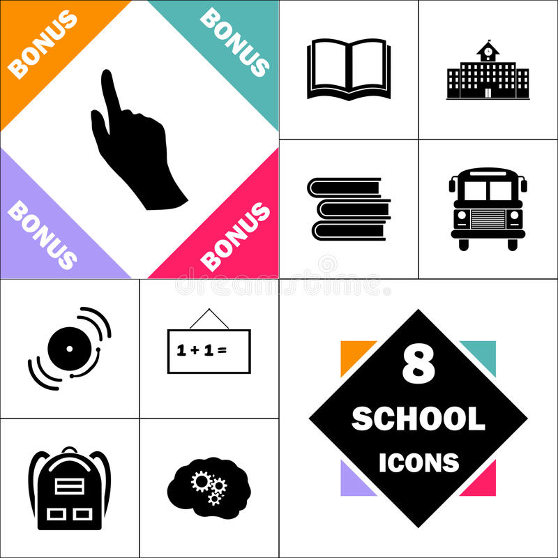 Mouse hand computer symbol. Mouse hand Icon and Set Perfect Back to School pictogram. Contains such Icons as Schoolbook, School Building, School Bus, Textbooks stock illustration