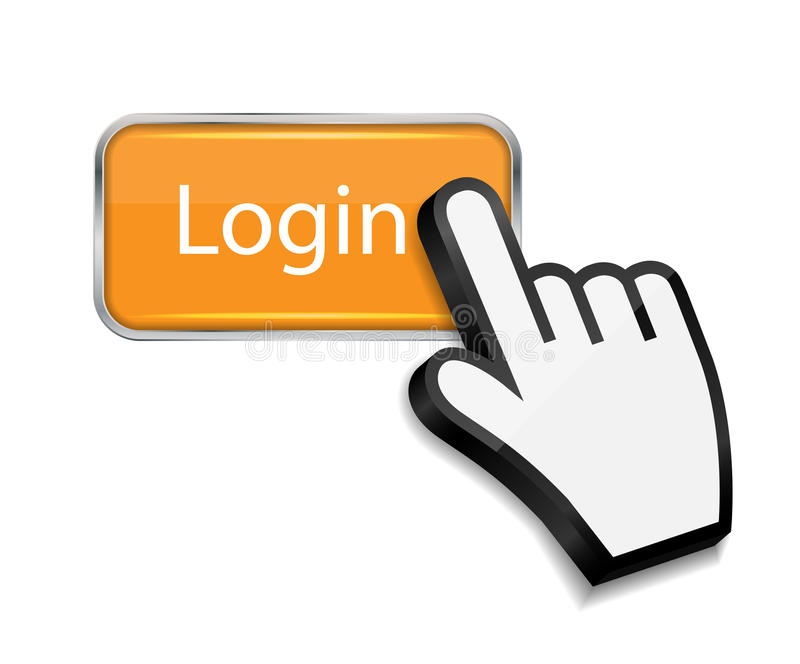 Mouse hand cursor on login button vector royalty free illustration