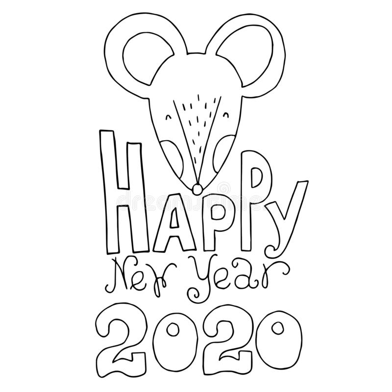 2020 Mouse Happy New Year, логотип шаблона, знаки отличия. Мыши, гороскопический зн стоковые изображения rf