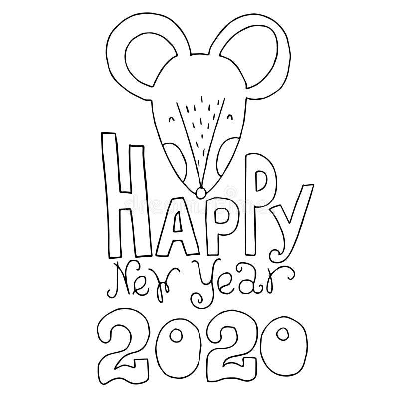 2020 Mouse Happy New Year, mallemblem, insignia. Mus, rat horoscope-tecken. Kinesiskt år, Rat 2020. tecknad handvektor royaltyfria bilder