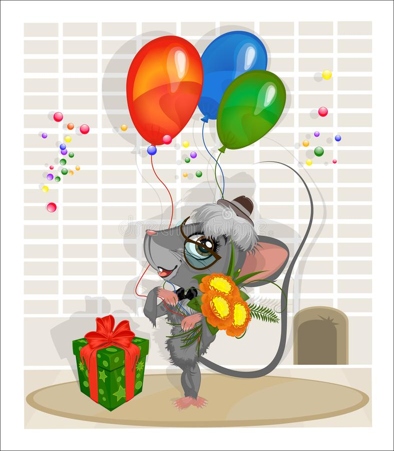 Mouse standing near the hole in the wall with a bouquet of dahlias, balloons and gift box. Mouse in a hat and sunglasses standing at the wall with flowers vector illustration