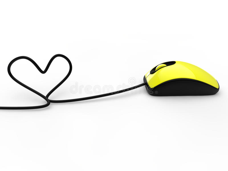 Mouse with heart. Yellow mouse with cable heart vector illustration