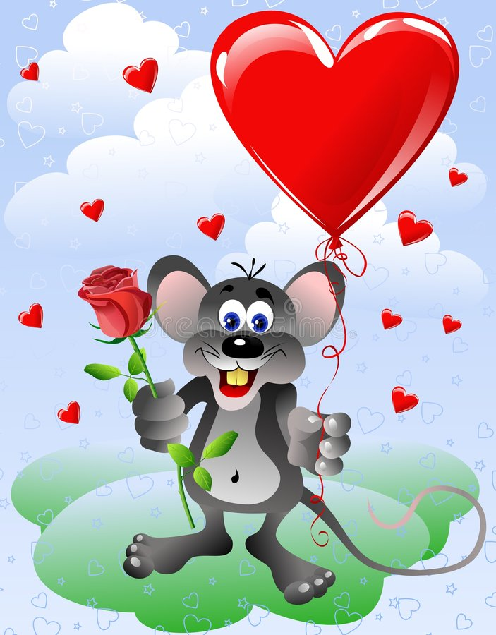 Mouse with heart balloon stock illustration