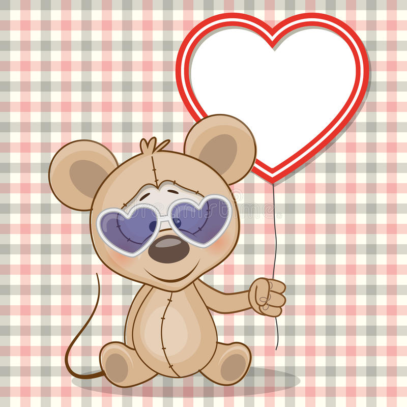 Mouse with heart frame stock illustration