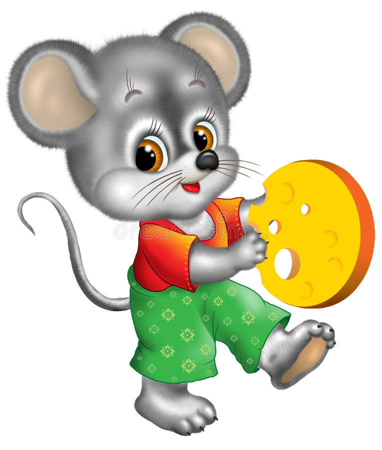 Mouse holding cheese stock illustration