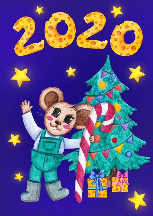 Mouse holding a Christmas candy. New year 2020. vector illustration