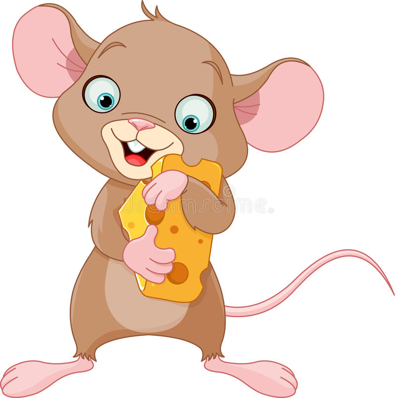 Mouse holding a piece of cheese stock illustration