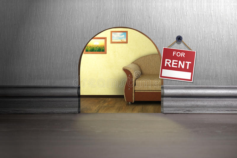 Mouse hole in wall with sign. House rent concept stock image